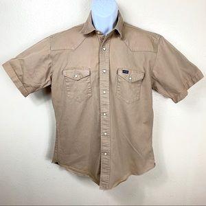 Wrangler Men's Casual Shirt Brown buttons down L